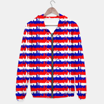 Thumbnail image of London UK Repeating Skyline on Red White and Blue Union Jack Colored Stripes Cotton zip up hoodie, Live Heroes