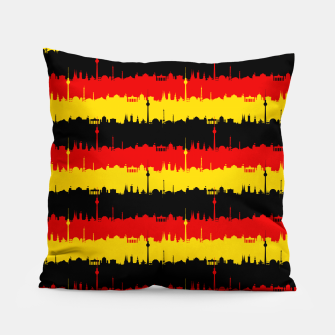 Thumbnail image of Germany Skyline Flag Repeating German Flag Red Pillow, Live Heroes