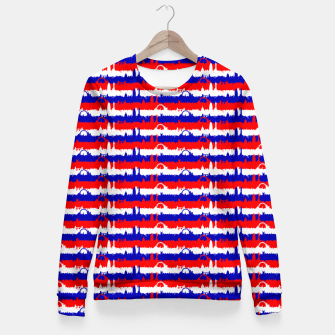 Thumbnail image of London UK Repeating Skyline on Red White and Blue Union Jack Colored Stripes Woman cotton sweater, Live Heroes