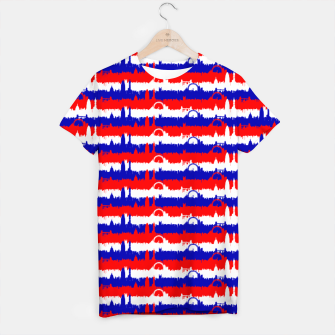 Thumbnail image of London UK Repeating Skyline on Red White and Blue Union Jack Colored Stripes T-shirt, Live Heroes