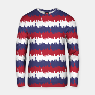 Thumbnail image of NY USA Skyline in Red White & Blue Stripes NYC New York Manhattan Skyline Silhouette Cotton sweater, Live Heroes
