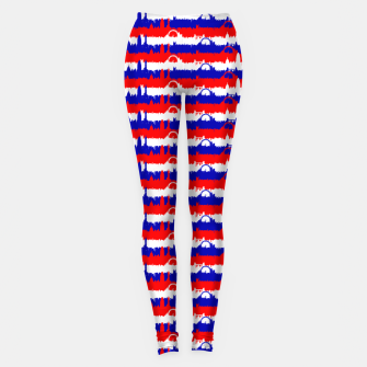 Miniatur London UK Repeating Skyline on Red White and Blue Union Jack Colored Stripes Leggings, Live Heroes