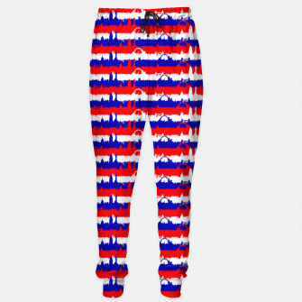 Thumbnail image of London UK Repeating Skyline on Red White and Blue Union Jack Colored Stripes Cotton sweatpants, Live Heroes