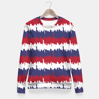 Thumbnail image of NY USA Skyline in Red White & Blue Stripes NYC New York Manhattan Skyline Silhouette Woman cotton sweater, Live Heroes
