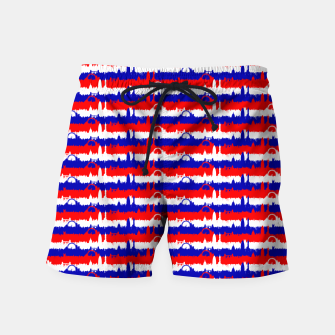 Thumbnail image of London UK Repeating Skyline on Red White and Blue Union Jack Colored Stripes Swim Shorts, Live Heroes