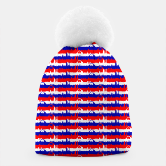 Miniatur London UK Repeating Skyline on Red White and Blue Union Jack Colored Stripes Beanie, Live Heroes