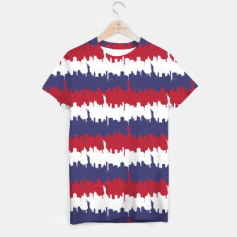 Thumbnail image of NY USA Skyline in Red White & Blue Stripes NYC New York Manhattan Skyline Silhouette T-shirt, Live Heroes