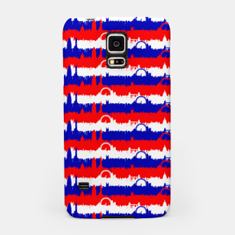 Thumbnail image of London UK Repeating Skyline on Red White and Blue Union Jack Colored Stripes Samsung Case, Live Heroes