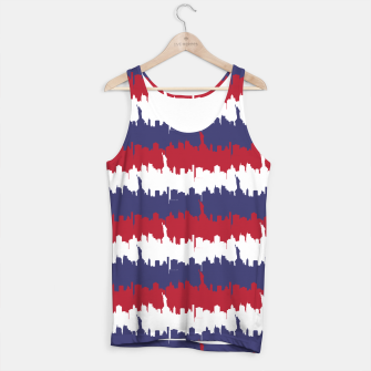 Thumbnail image of NY USA Skyline in Red White & Blue Stripes NYC New York Manhattan Skyline Silhouette Tank Top, Live Heroes