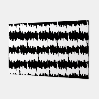 Thumbnail image of Black & White Stripes NYC New York Manhattan Skyline Silhouette Canvas, Live Heroes