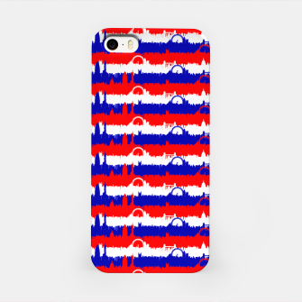 Thumbnail image of London UK Repeating Skyline on Red White and Blue Union Jack Colored Stripes iPhone Case, Live Heroes