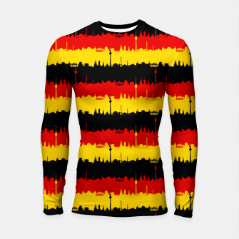 Thumbnail image of Germany Skyline Flag Repeating German Flag Red Longsleeve rashguard , Live Heroes