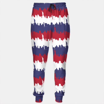Thumbnail image of NY USA Skyline in Red White & Blue Stripes NYC New York Manhattan Skyline Silhouette Cotton sweatpants, Live Heroes