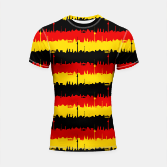 Thumbnail image of Germany Skyline Flag Repeating German Flag Red Shortsleeve rashguard, Live Heroes