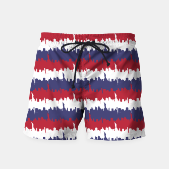 Thumbnail image of NY USA Skyline in Red White & Blue Stripes NYC New York Manhattan Skyline Silhouette Swim Shorts, Live Heroes