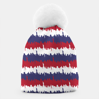 Thumbnail image of NY USA Skyline in Red White & Blue Stripes NYC New York Manhattan Skyline Silhouette Beanie, Live Heroes