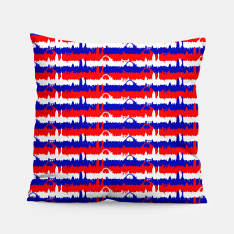 Thumbnail image of London UK Repeating Skyline on Red White and Blue Union Jack Colored Stripes Pillow, Live Heroes