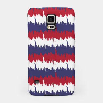 Thumbnail image of NY USA Skyline in Red White & Blue Stripes NYC New York Manhattan Skyline Silhouette Samsung Case, Live Heroes