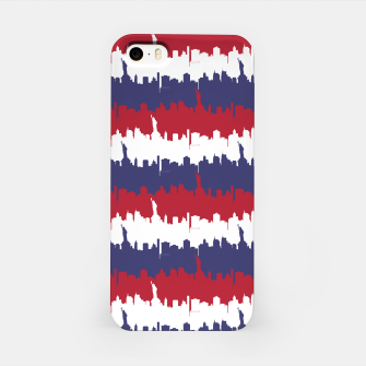 Thumbnail image of NY USA Skyline in Red White & Blue Stripes NYC New York Manhattan Skyline Silhouette iPhone Case, Live Heroes