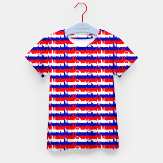 Miniatur London UK Repeating Skyline on Red White and Blue Union Jack Colored Stripes Kid's t-shirt, Live Heroes
