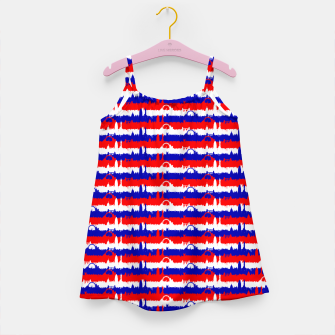 Thumbnail image of London UK Repeating Skyline on Red White and Blue Union Jack Colored Stripes Girl's dress, Live Heroes