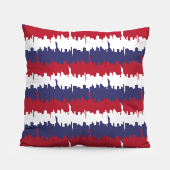 Thumbnail image of NY USA Skyline in Red White & Blue Stripes NYC New York Manhattan Skyline Silhouette Pillow, Live Heroes