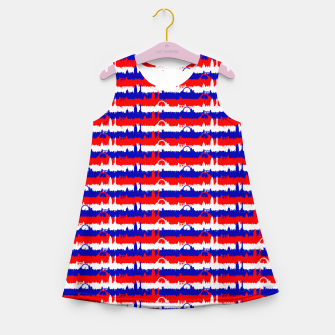 Miniatur London UK Repeating Skyline on Red White and Blue Union Jack Colored Stripes Girl's summer dress, Live Heroes