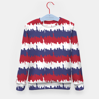 Thumbnail image of NY USA Skyline in Red White & Blue Stripes NYC New York Manhattan Skyline Silhouette Kid's sweater, Live Heroes