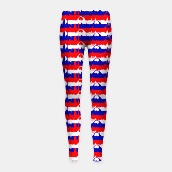 Miniatur London UK Repeating Skyline on Red White and Blue Union Jack Colored Stripes Girl's leggings, Live Heroes