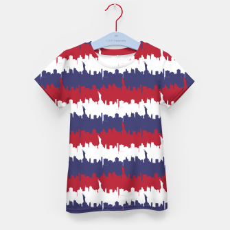 Thumbnail image of NY USA Skyline in Red White & Blue Stripes NYC New York Manhattan Skyline Silhouette Kid's t-shirt, Live Heroes