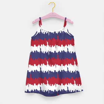 Thumbnail image of NY USA Skyline in Red White & Blue Stripes NYC New York Manhattan Skyline Silhouette Girl's dress, Live Heroes