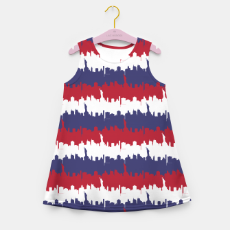 Thumbnail image of NY USA Skyline in Red White & Blue Stripes NYC New York Manhattan Skyline Silhouette Girl's summer dress, Live Heroes