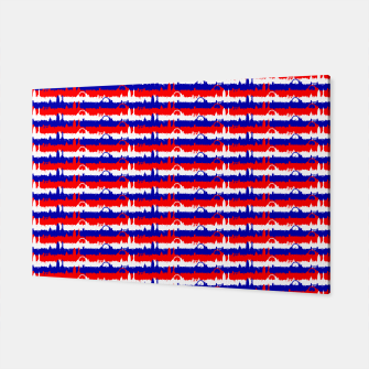 Thumbnail image of London UK Repeating Skyline on Red White and Blue Union Jack Colored Stripes Canvas, Live Heroes