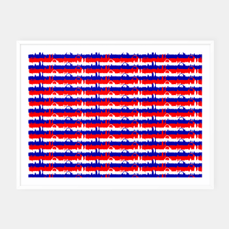 Thumbnail image of London UK Repeating Skyline on Red White and Blue Union Jack Colored Stripes Framed poster, Live Heroes