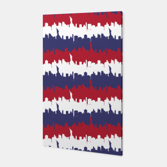Thumbnail image of NY USA Skyline in Red White & Blue Stripes NYC New York Manhattan Skyline Silhouette Canvas, Live Heroes