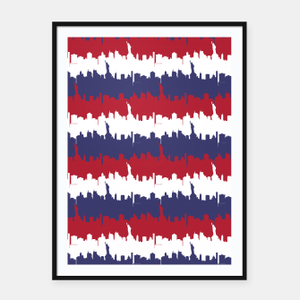 Thumbnail image of NY USA Skyline in Red White & Blue Stripes NYC New York Manhattan Skyline Silhouette Framed poster, Live Heroes