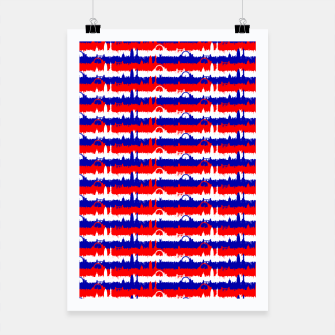 Thumbnail image of London UK Repeating Skyline on Red White and Blue Union Jack Colored Stripes Poster, Live Heroes