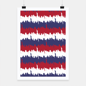 Thumbnail image of NY USA Skyline in Red White & Blue Stripes NYC New York Manhattan Skyline Silhouette Poster, Live Heroes
