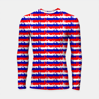 Thumbnail image of London UK Repeating Skyline on Red White and Blue Union Jack Colored Stripes Longsleeve rashguard , Live Heroes
