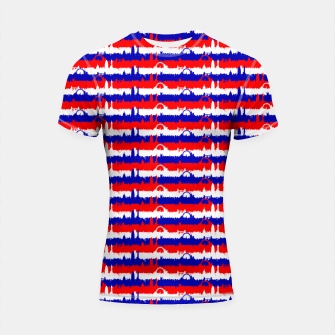 Thumbnail image of London UK Repeating Skyline on Red White and Blue Union Jack Colored Stripes Shortsleeve rashguard, Live Heroes