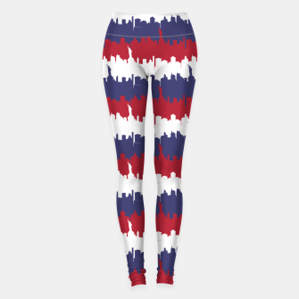 Thumbnail image of NY USA Skyline in Red White & Blue Stripes NYC New York Manhattan Skyline Silhouette Leggings, Live Heroes