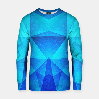Miniature de image de Abstract Polygon Multi Color Cubizm Painting in ice blue Cotton sweater, Live Heroes