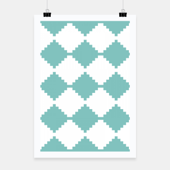 Miniaturka Abstract geometric pattern - blue and white. Poster, Live Heroes