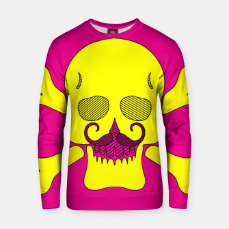 Miniature de image de yellow skull with mustache and pink background Cotton sweater, Live Heroes