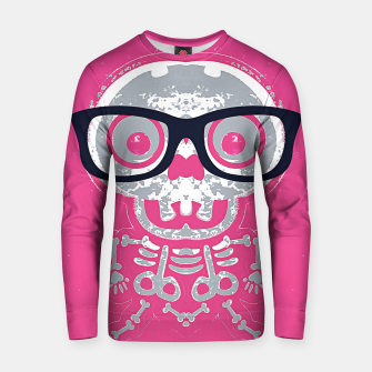Thumbnail image of grey skull with glasses and pink background Cotton sweater, Live Heroes