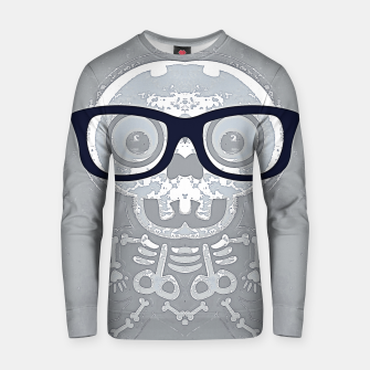 Thumbnail image of grey skull with black glasses and grey background Cotton sweater, Live Heroes