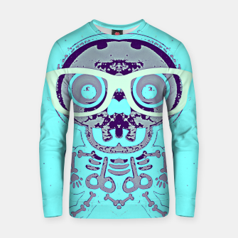 Thumbnail image of grey skull with glasses and blue background Cotton sweater, Live Heroes