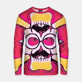 Miniature de image de yellow skull with mustache and glasses and pink background Cotton sweater, Live Heroes