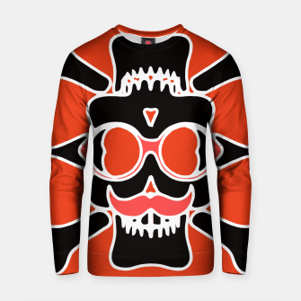 Miniature de image de black skull with glasses and mustache and red background Cotton sweater, Live Heroes