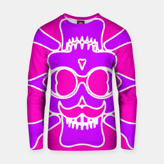 Miniature de image de purple skull with glasses and mustache and pink background Cotton sweater, Live Heroes